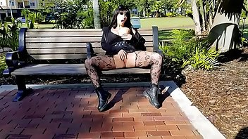 Pantyhose Outdoor Brunette Squirt