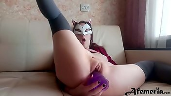 Mask Stockings Dildo Babe