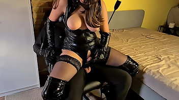 Leather Stockings Hardcore Handjob