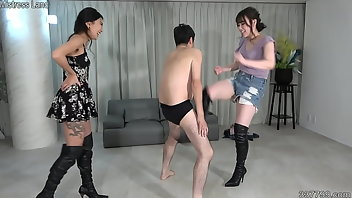 Ballbusting Threesome Boots Asian